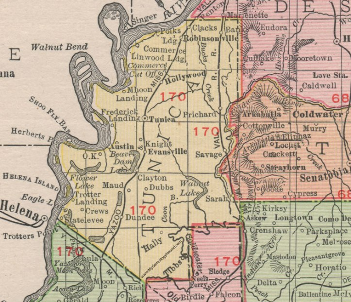 Tunica County map